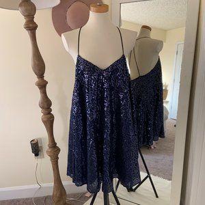 ASOS Blue Flower Sequin Mini Dress Open Back